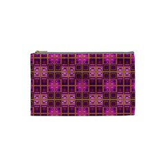 Mod Pink Purple Yellow Square Pattern Cosmetic Bag (small)
