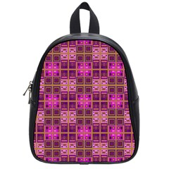 Mod Pink Purple Yellow Square Pattern School Bag (small)