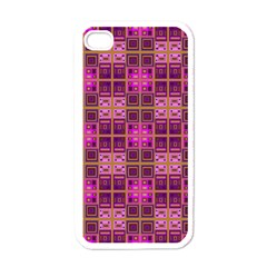Mod Pink Purple Yellow Square Pattern Apple Iphone 4 Case (white)