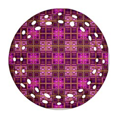 Mod Pink Purple Yellow Square Pattern Round Filigree Ornament (two Sides)
