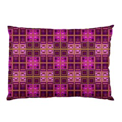 Mod Pink Purple Yellow Square Pattern Pillow Case (two Sides)