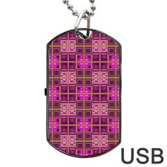 Mod Pink Purple Yellow Square Pattern Dog Tag Usb Flash (one Side)