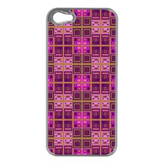 Mod Pink Purple Yellow Square Pattern Apple Iphone 5 Case (silver)