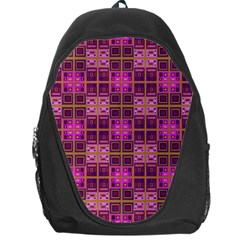 Mod Pink Purple Yellow Square Pattern Backpack Bag