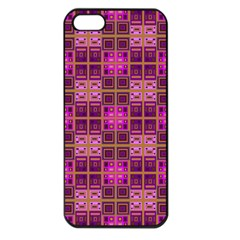 Mod Pink Purple Yellow Square Pattern Apple Iphone 5 Seamless Case (black)