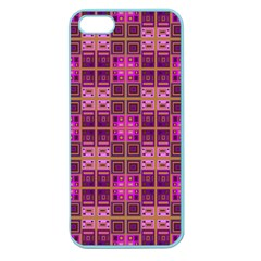 Mod Pink Purple Yellow Square Pattern Apple Seamless Iphone 5 Case (color)