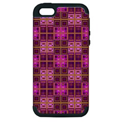 Mod Pink Purple Yellow Square Pattern Apple Iphone 5 Hardshell Case (pc+silicone)