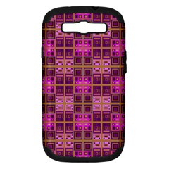 Mod Pink Purple Yellow Square Pattern Samsung Galaxy S Iii Hardshell Case (pc+silicone)