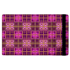 Mod Pink Purple Yellow Square Pattern Apple Ipad 3/4 Flip Case
