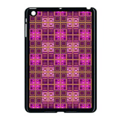 Mod Pink Purple Yellow Square Pattern Apple Ipad Mini Case (black)