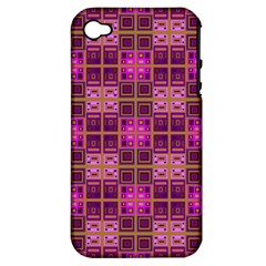 Mod Pink Purple Yellow Square Pattern Apple Iphone 4/4s Hardshell Case (pc+silicone)
