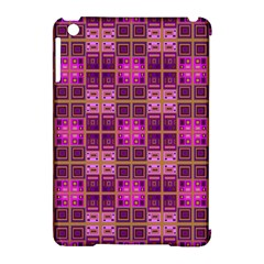Mod Pink Purple Yellow Square Pattern Apple Ipad Mini Hardshell Case (compatible With Smart Cover)