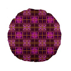 Mod Pink Purple Yellow Square Pattern Standard 15  Premium Round Cushions