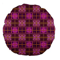 Mod Pink Purple Yellow Square Pattern Large 18  Premium Round Cushions