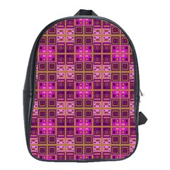 Mod Pink Purple Yellow Square Pattern School Bag (xl)