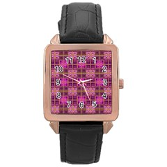 Mod Pink Purple Yellow Square Pattern Rose Gold Leather Watch