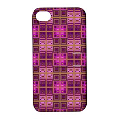 Mod Pink Purple Yellow Square Pattern Apple Iphone 4/4s Hardshell Case With Stand