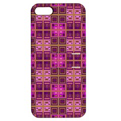 Mod Pink Purple Yellow Square Pattern Apple Iphone 5 Hardshell Case With Stand