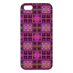 Mod Pink Purple Yellow Square Pattern Apple Iphone 5 Premium Hardshell Case