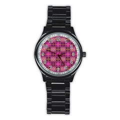Mod Pink Purple Yellow Square Pattern Stainless Steel Round Watch
