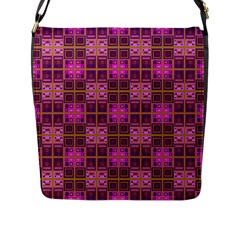 Mod Pink Purple Yellow Square Pattern Flap Closure Messenger Bag (l)