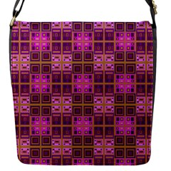 Mod Pink Purple Yellow Square Pattern Flap Closure Messenger Bag (s)