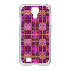 Mod Pink Purple Yellow Square Pattern Samsung Galaxy S4 I9500/ I9505 Case (white)