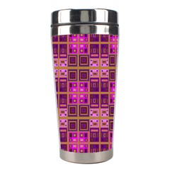 Mod Pink Purple Yellow Square Pattern Stainless Steel Travel Tumblers