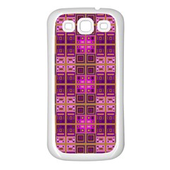 Mod Pink Purple Yellow Square Pattern Samsung Galaxy S3 Back Case (white)