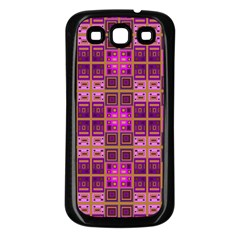 Mod Pink Purple Yellow Square Pattern Samsung Galaxy S3 Back Case (black)