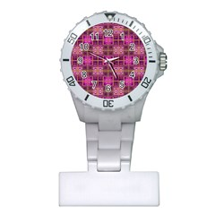 Mod Pink Purple Yellow Square Pattern Plastic Nurses Watch by BrightVibesDesign
