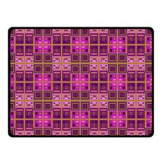 Mod Pink Purple Yellow Square Pattern Double Sided Fleece Blanket (small)