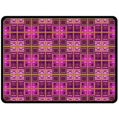 Mod Pink Purple Yellow Square Pattern Double Sided Fleece Blanket (large)