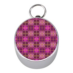 Mod Pink Purple Yellow Square Pattern Mini Silver Compasses