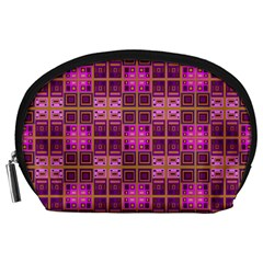 Mod Pink Purple Yellow Square Pattern Accessory Pouch (large)