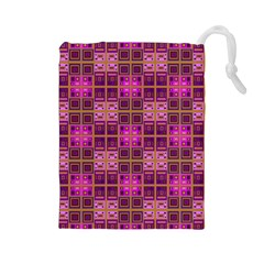 Mod Pink Purple Yellow Square Pattern Drawstring Pouch (large)