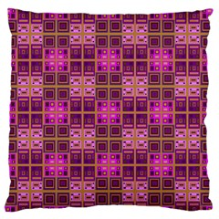 Mod Pink Purple Yellow Square Pattern Large Flano Cushion Case (two Sides)