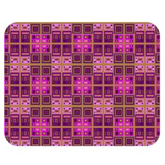 Mod Pink Purple Yellow Square Pattern Double Sided Flano Blanket (medium)