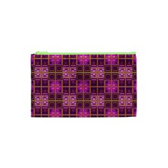 Mod Pink Purple Yellow Square Pattern Cosmetic Bag (xs)