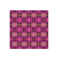 Mod Pink Purple Yellow Square Pattern Satin Bandana Scarf