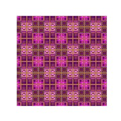 Mod Pink Purple Yellow Square Pattern Small Satin Scarf (square)