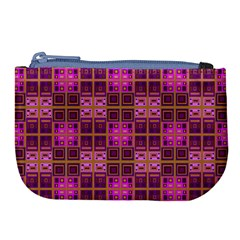 Mod Pink Purple Yellow Square Pattern Large Coin Purse