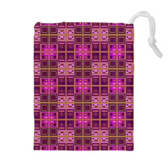 Mod Pink Purple Yellow Square Pattern Drawstring Pouch (xl)