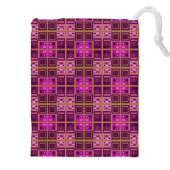 Mod Pink Purple Yellow Square Pattern Drawstring Pouch (xxl)