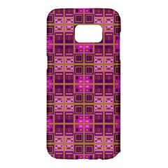 Mod Pink Purple Yellow Square Pattern Samsung Galaxy S7 Edge Hardshell Case