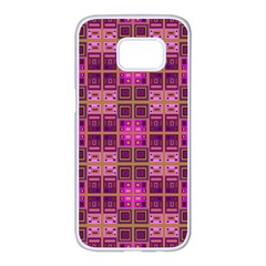 Mod Pink Purple Yellow Square Pattern Samsung Galaxy S7 Edge White Seamless Case