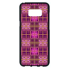 Mod Pink Purple Yellow Square Pattern Samsung Galaxy S8 Plus Black Seamless Case