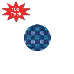 Mod Purple Green Turquoise Square Pattern 1  Mini Buttons (100 Pack)