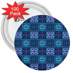 Mod Purple Green Turquoise Square Pattern 3  Buttons (100 pack)  Front
