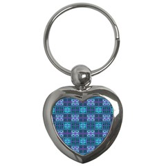 Mod Purple Green Turquoise Square Pattern Key Chains (heart)  by BrightVibesDesign